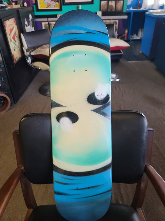 custom painted eyeball skate deck